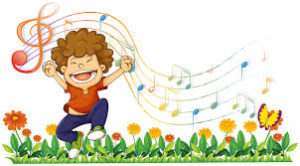 child dancing in flowers